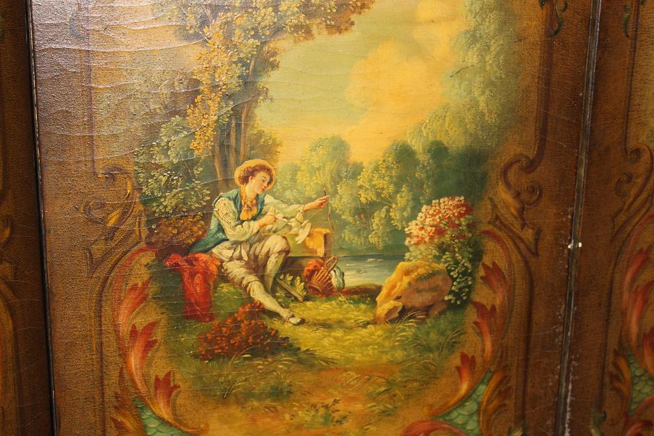 Antique French Painted Screen