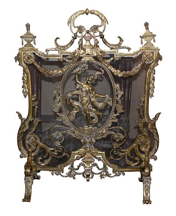 19th Century French Bronze Fire Screen