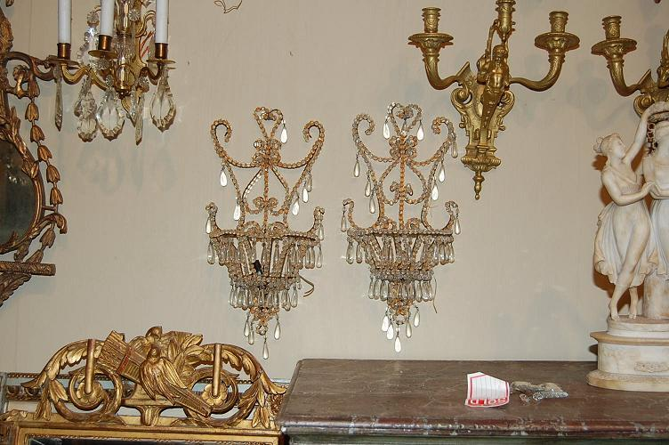 Pair Venetian Beaded Sconces