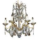 Petite French Crystal & Bronze Chandelier