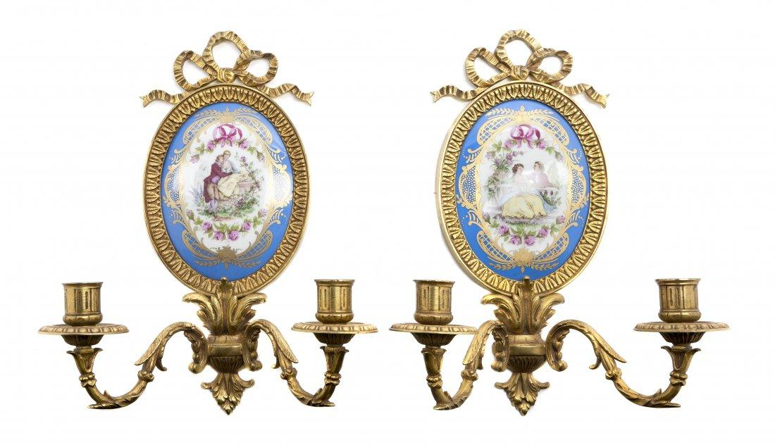 Pair Sevres Style Gilt Bronze Sconces