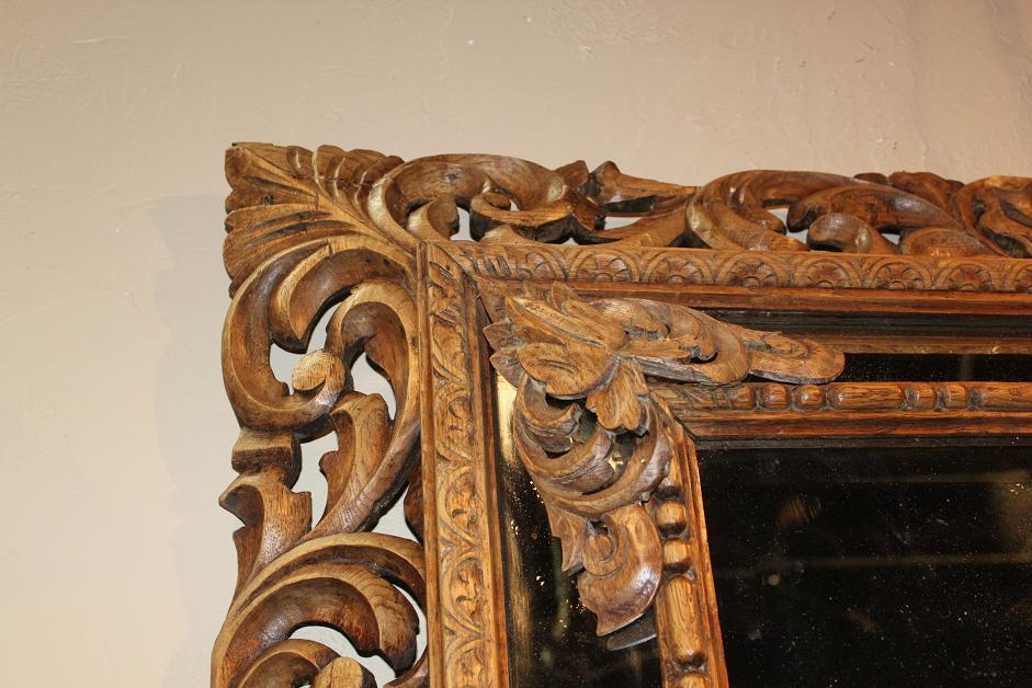 Carved Walnut Cushion Mirror