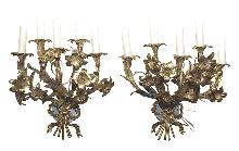Pair Floral Gilt Brass Sconce