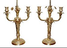 Pair French Bronze Lamps