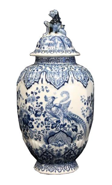 Blue Delft Covered Urn