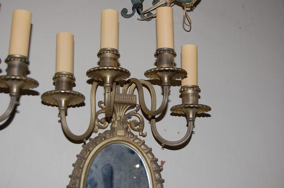 Pair Mirrored Girandole Sconces