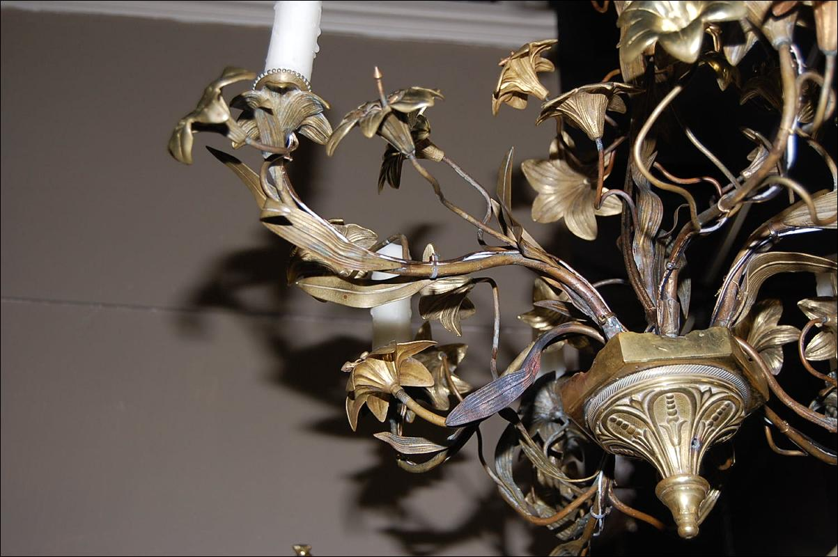 French Gilt Brass Chandelier