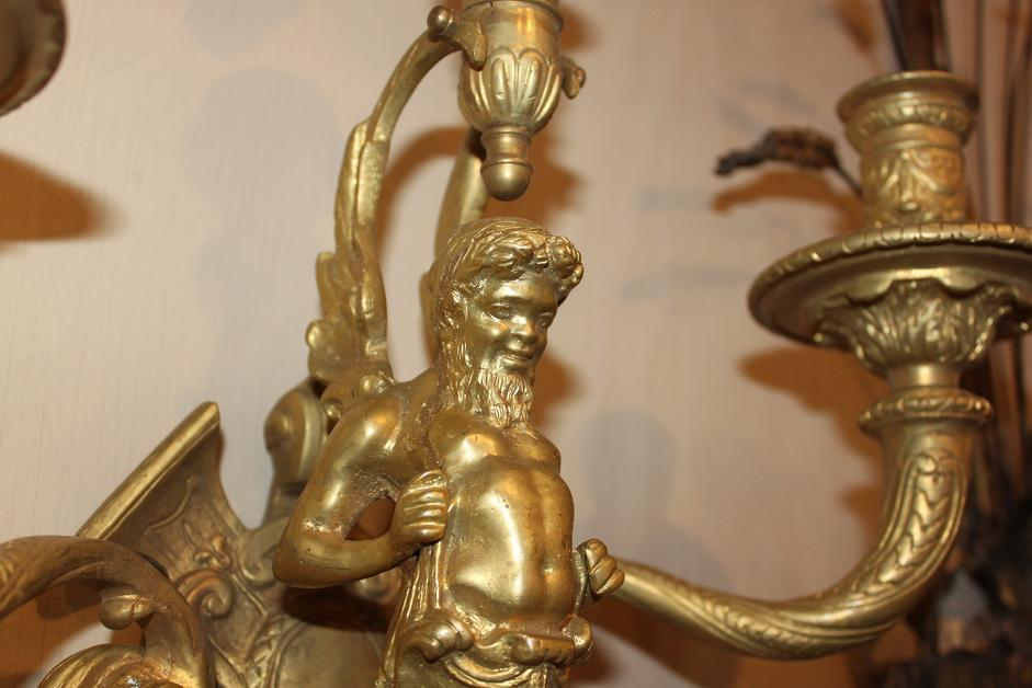 Fine Pair Bronze Sconces