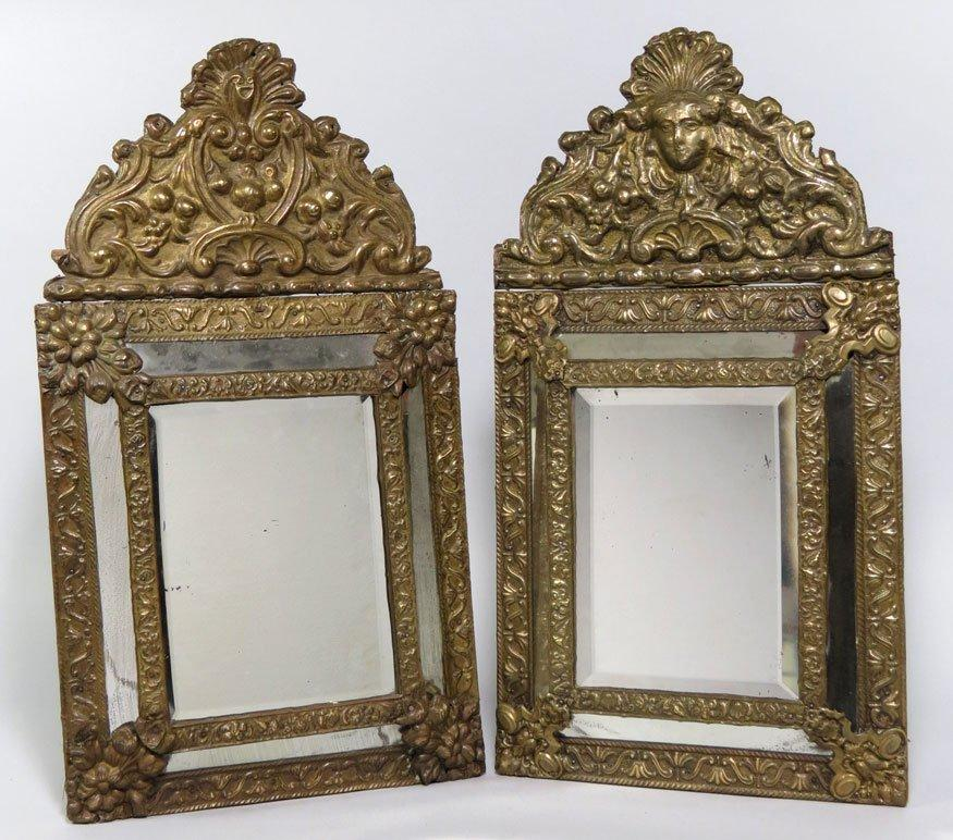 Companion Pair Brass Embossed Mirrors