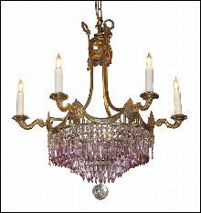 French Bronze & Amethyst Chandelier