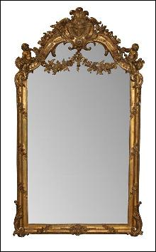 French Giltwood Cherub Mirror