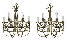 Pair French Brass Chandeliers