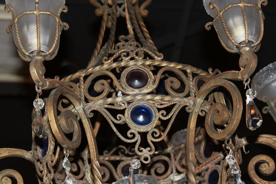 French Iron & Crystal Chandelier