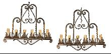 Pair Heavy Iron Chandeliers
