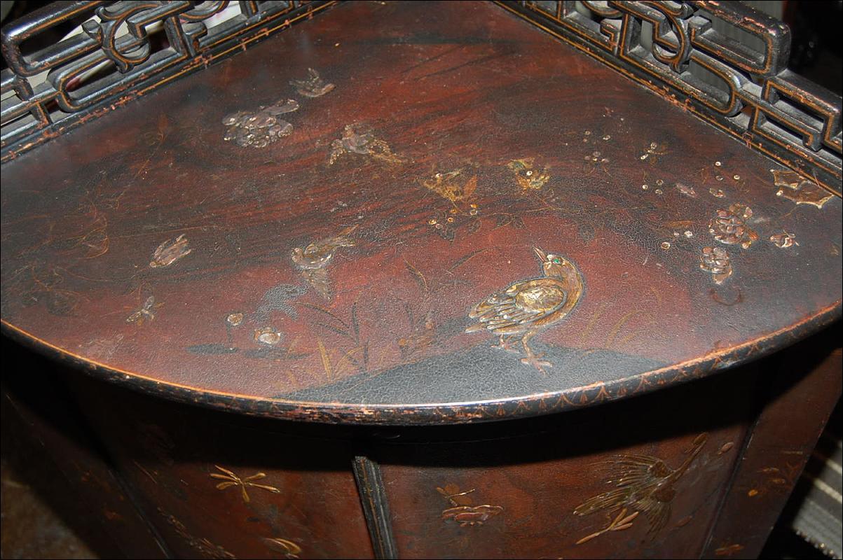 Antique Oriental Corner Cabinet