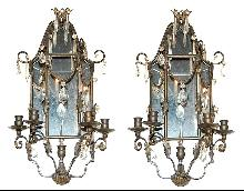 Pair Mirrored Sconces