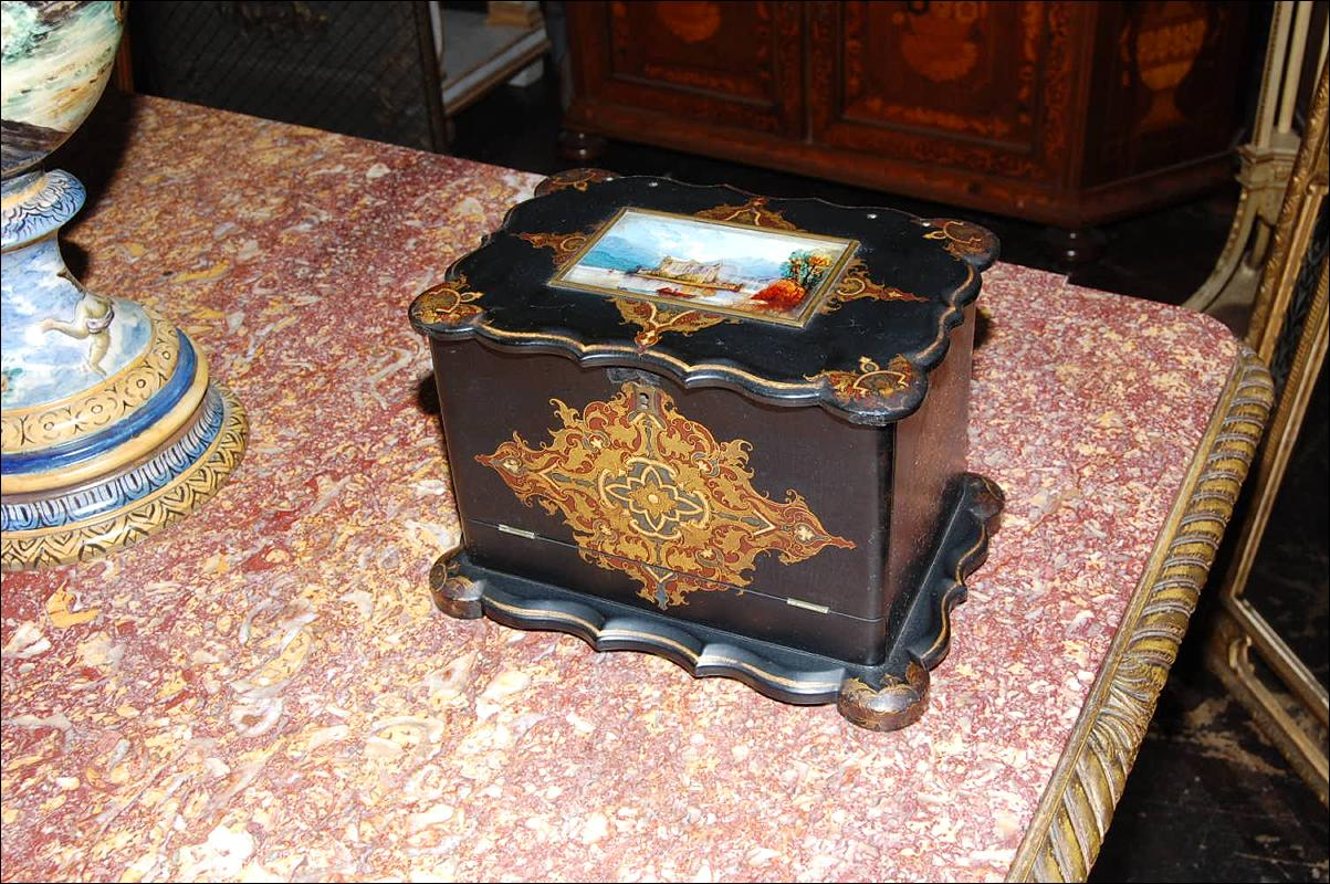 English Lacquered Stationary Box