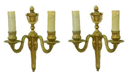 Petite Pair Bronze Sconces