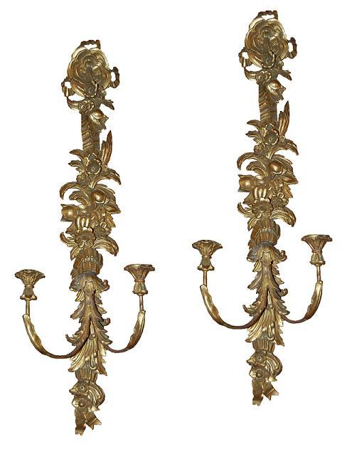 Pair Italian Giltwood Sconces