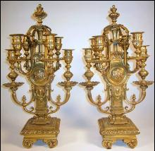 Pair Ornate Bronze Candelabra