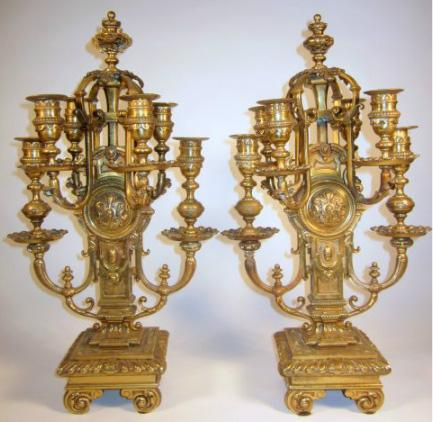 Pair Ornate Bronze Candelabra