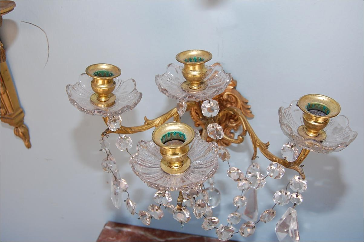 Petite Pair Bronze & Crystal Sconces