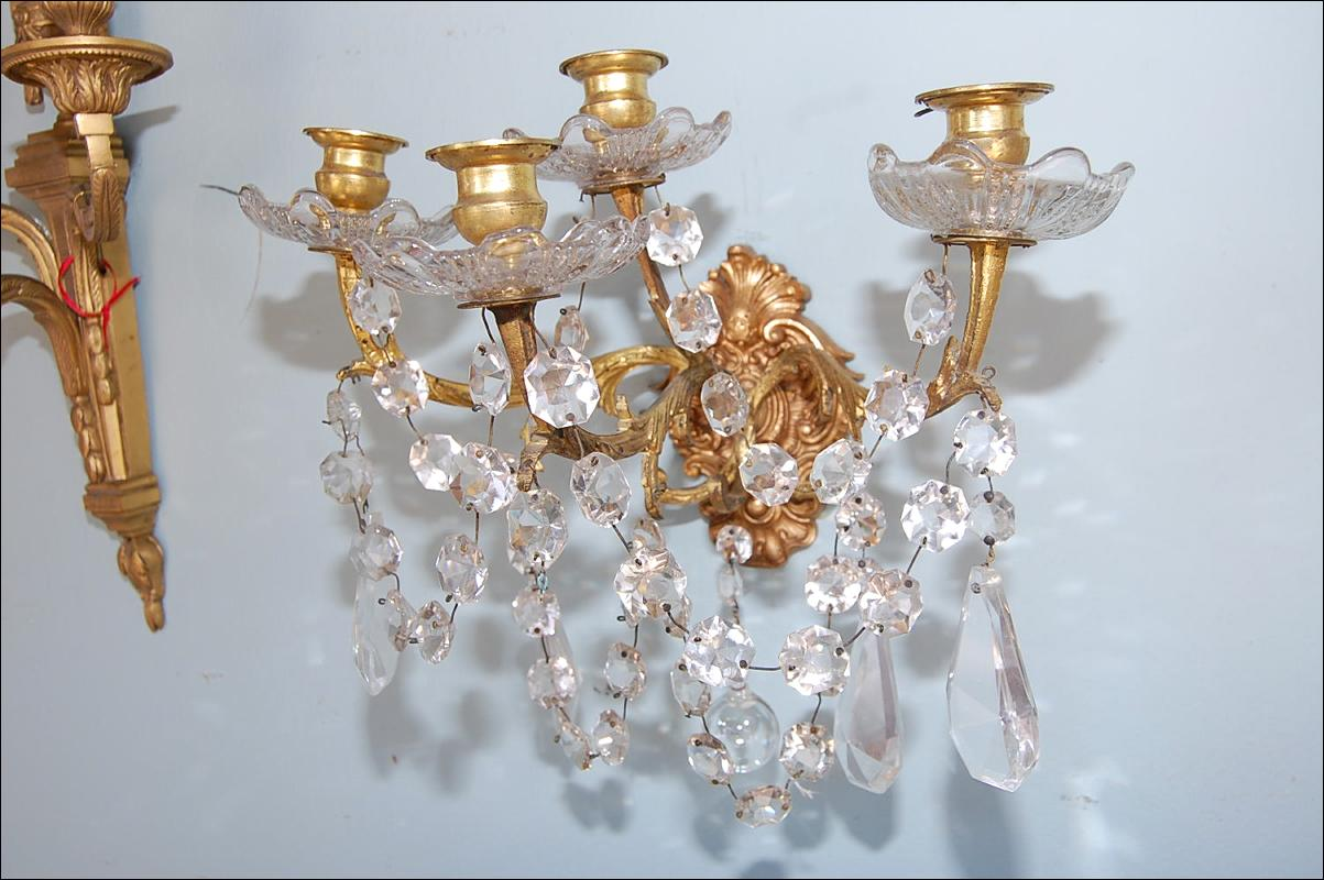 Petite Pair Bronze & Crystal Sconces