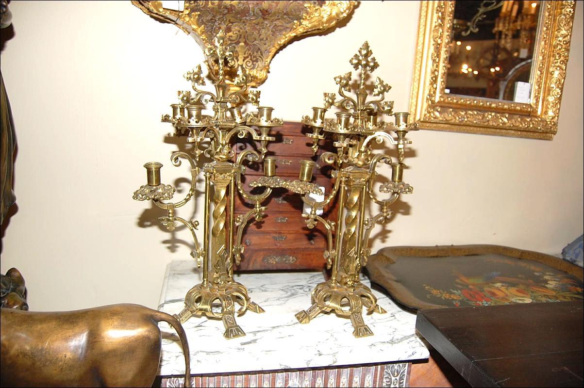 Pair Bronze Candelabra