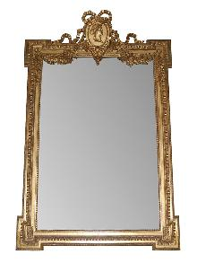 French Etched Giltwood Mirror
