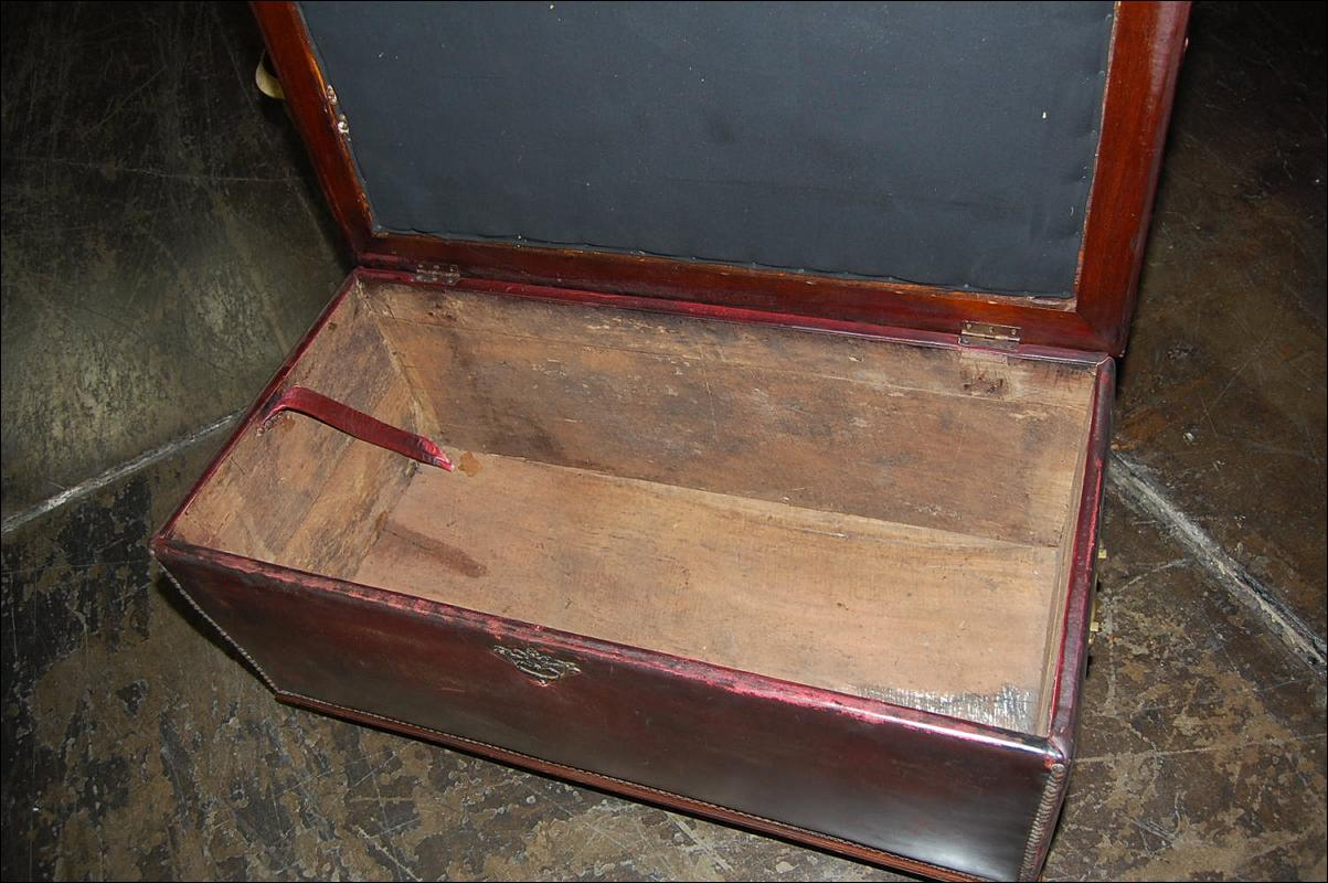 Antique Leather Tufted Trunk