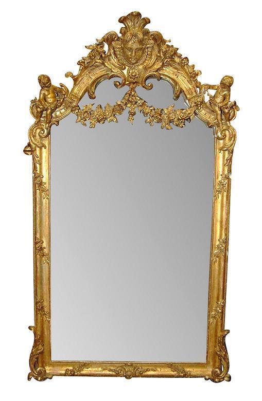 French Giltwood Cherub Mirror
