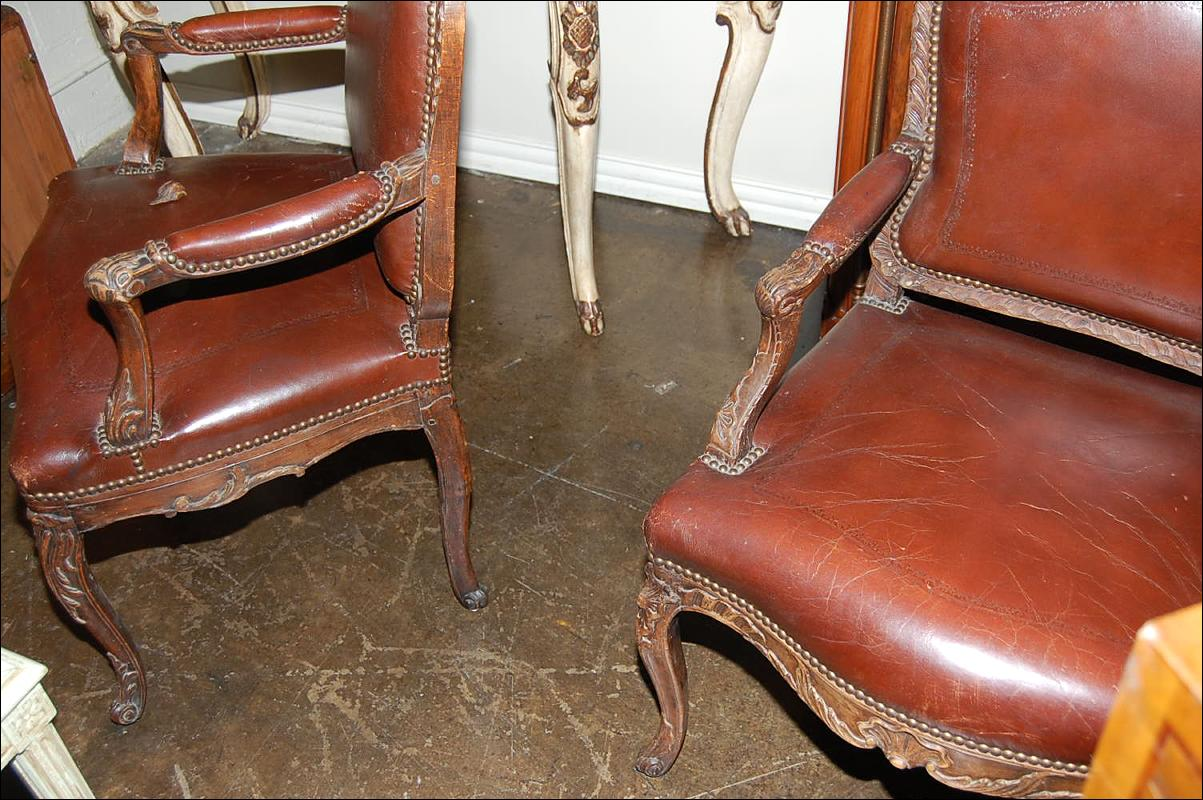 Pair Carved Leather Chairs
