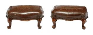 Petite Pair Leather Foot Stools