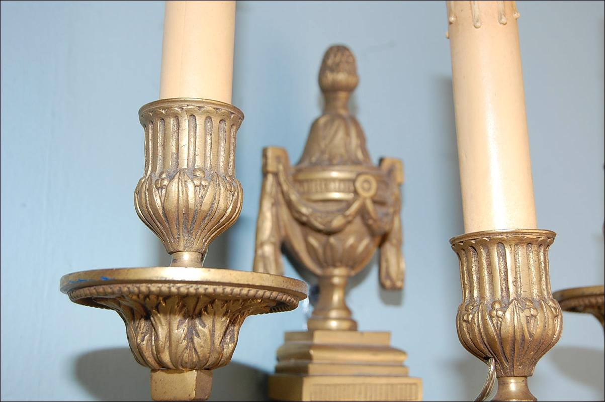 Pair French Bronze Sconces