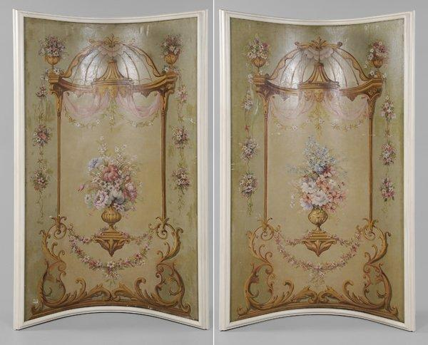 Large Pair French Painted Panels