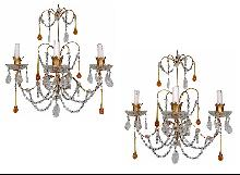 Pair French Beaded Sconces