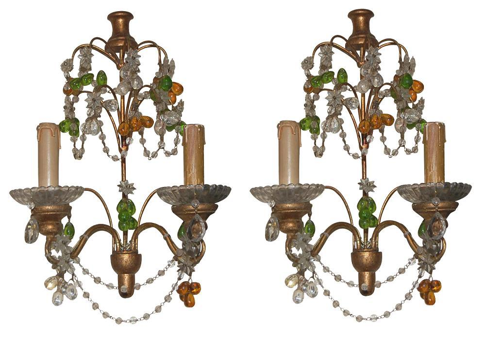 Petite Beaded Crystal Sconces