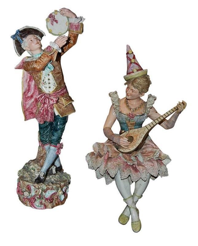 Pair Majolica Figures