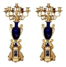 Magnificent Pair Dore Bronze & Cobalt Candelabra