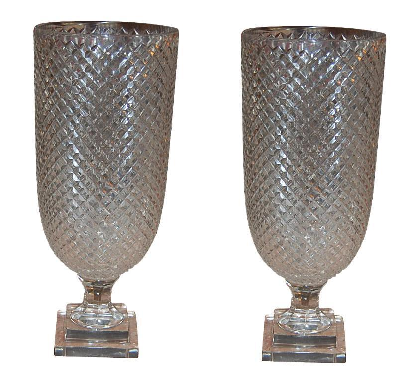 Pair Crystal Vases
