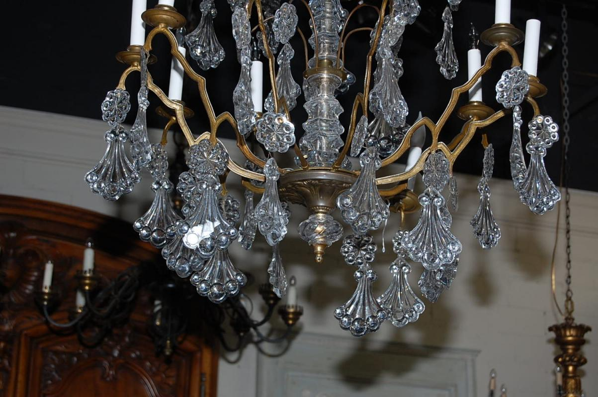 Continental Bronze & Crystal Chandelier