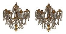 Pair Dore Bronze & Crystal Sconces