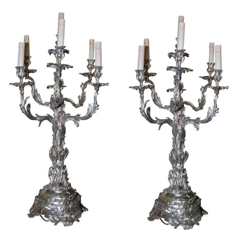 Large Silvered Bronze Candelabra