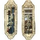 Pair Venetian Etched Mirrors