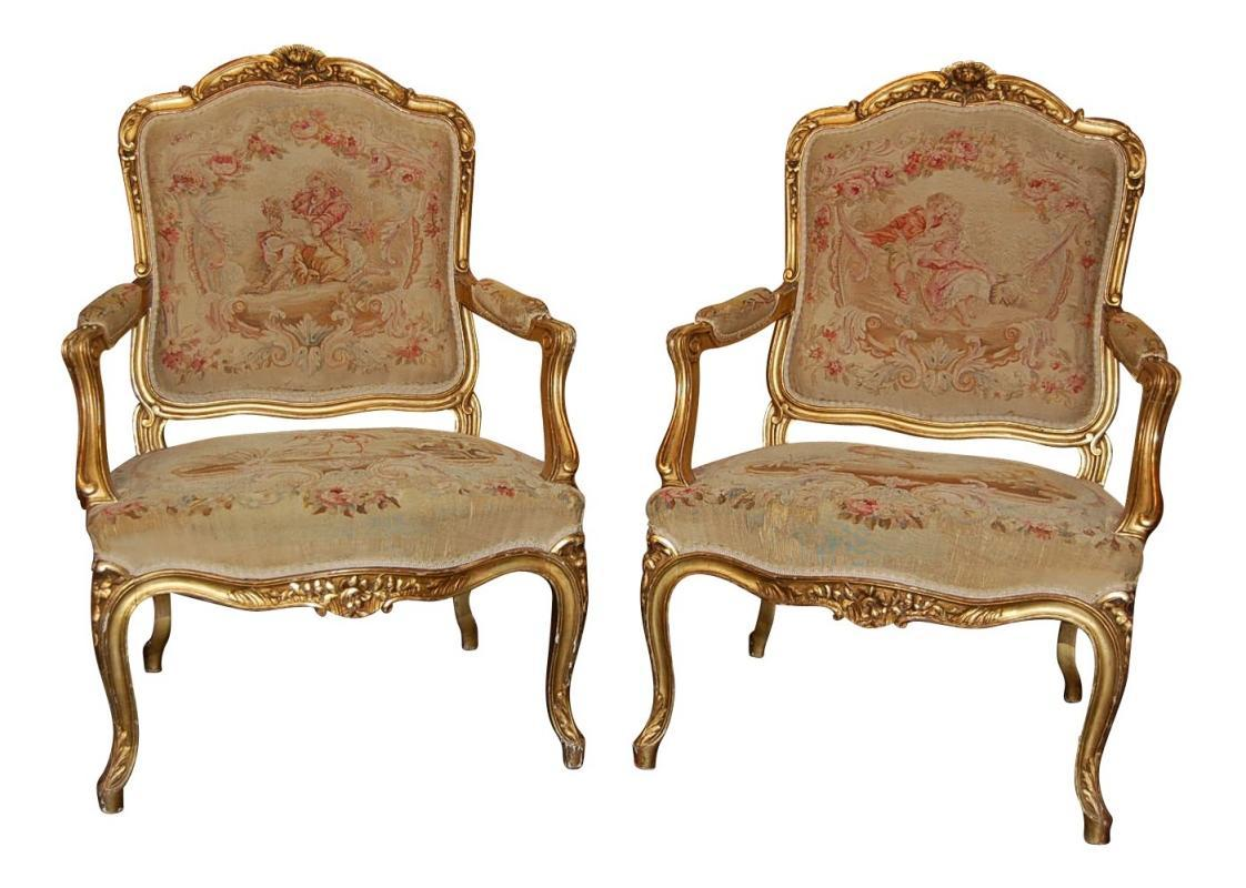 Pair Louis XV Aubusson Chairs