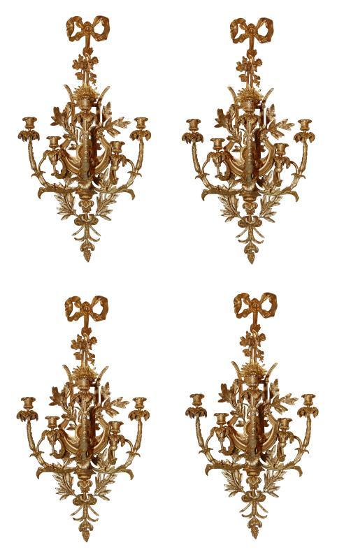 Superb Set of 4 Dore Bronze Sconces