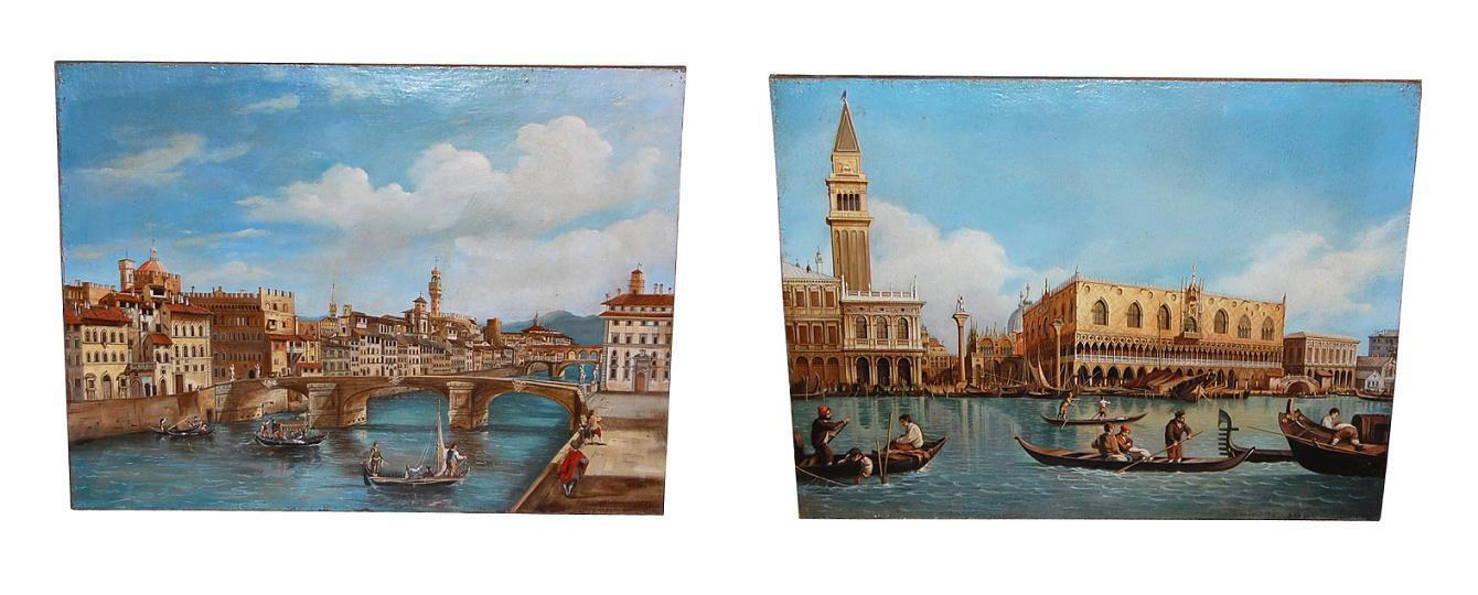 Impressive Pair Venice Paintings