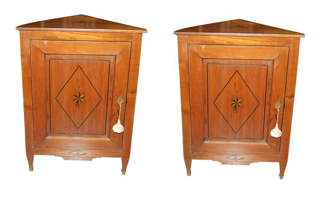 Pair French Directoire Corner Cabinets
