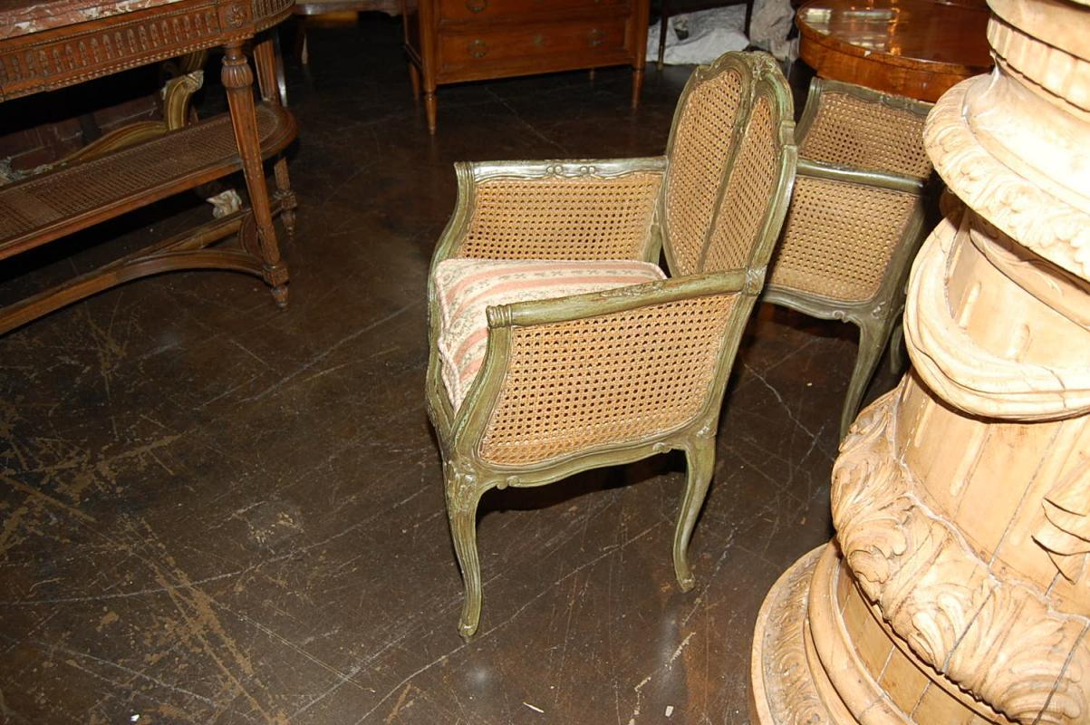 Pair French Caned & Painted Chairs