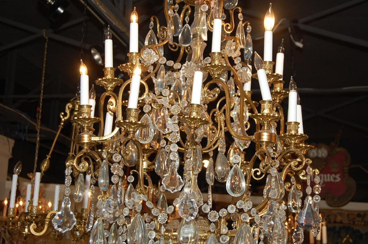 Large Italian Bronze & Crystal Chandelier